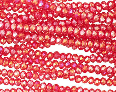 Siam Ruby AB Crystal Faceted Rondelle 3mm