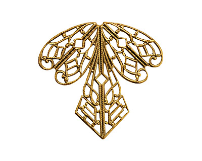 Stampt Antique Gold (plated) Deco Iris Filigree 36x38mm