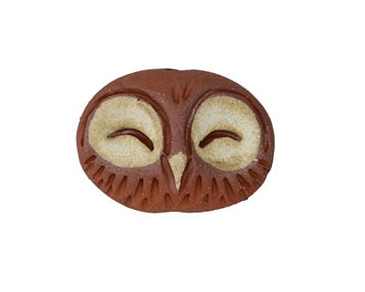 Gaea Ceramic Brick Happy Owl Bead 32x19mm