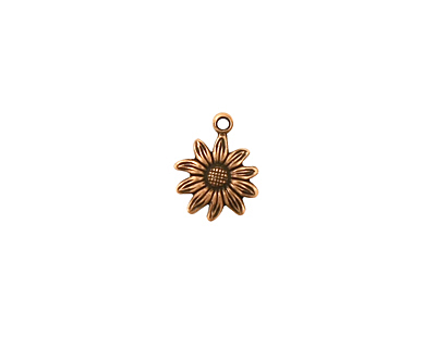 Stampt Antique Copper (plated) Tiny Sunflower Charm 9x12mm
