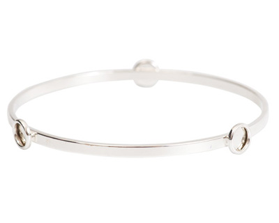Nunn Design Sterling Silver (plated) Large Flat Bangle Bracelet w/ Bezels 70mm