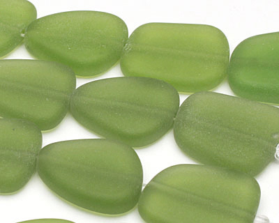 Lime Green Recycled Glass Flat Freeform 21-23x18-20mm
