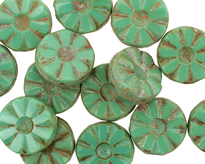 Czech Glass Opaque Emerald Picasso Flower Window Coin 12mm