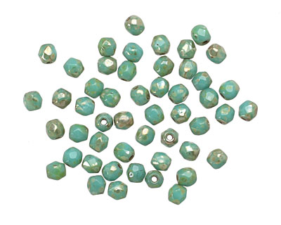 Czech Glass Turquoise Light Picasso Fire Polished Round 3mm