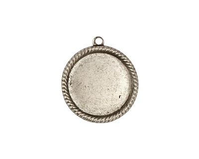 Stampt Antique Pewter (plated) Herringbone Round Setting 15mm