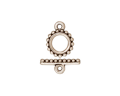 TierraCast Antique Silver (plated) Small Beaded Toggle Clasp 10mm, 15mm bar