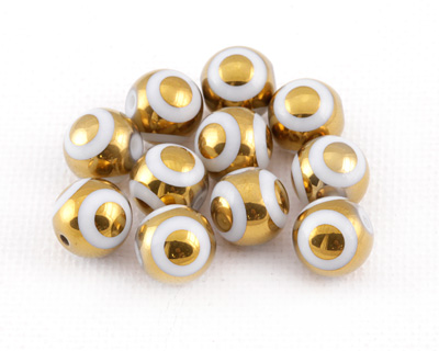 Metallic Gold Laser Etched Circles on Crystal Round 10mm