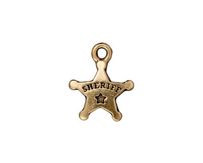 TierraCast Antique Gold (plated) Sheriff's Badge 15x18mm