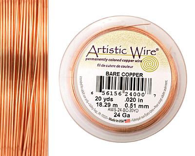 Artistic Wire Bare Copper 24 gauge, 20 yards
