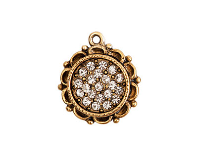 Nunn Design Antique Gold (plated) Mini Ornate Circle Bezel Pendant w/ Crystal 19x22mm