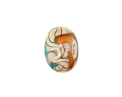 Grace Lampwork Aqua w/ Light Brown Rondelle 9x14mm