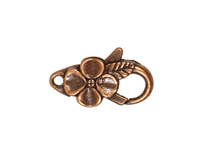 Antique Copper (plated) Floral Lobster Clasp 25x14mm