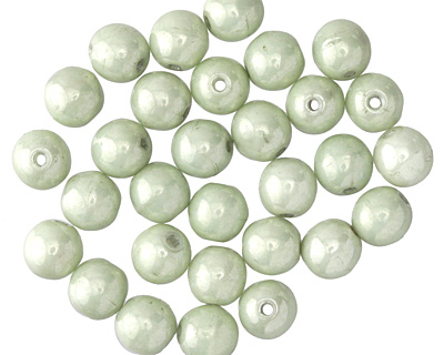 Czech Glass Lustered Stone Green Round Druk 6mm