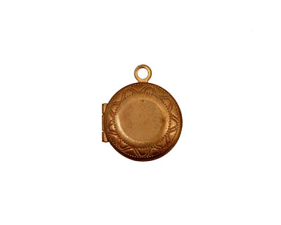 Brass Small Round Ribbon Heirloom Locket 13x15mm