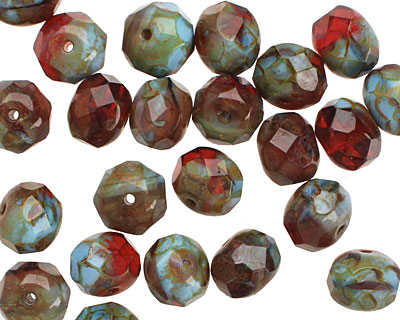 Czech Glass Mixed Berry Bush Picasso Fire Polished Rondelle 6x9mm