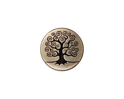 TierraCast Antique Brass (plated) Tree of Life Button 15mm