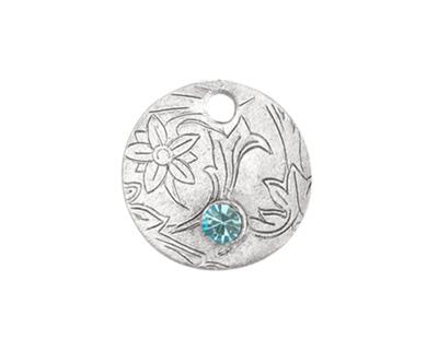 Nunn Design Antique Silver (plated) Deocrative Small Circle Tag w/ Aqua Crystal 20mm