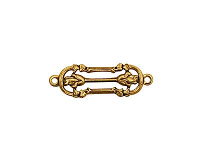 Stampt Antique Gold (plated) Rose Column Connector 23.5x7.5mm