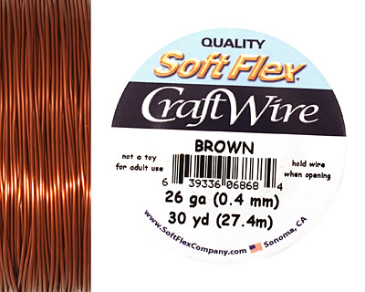 Soft Flex Brown Craft Wire 26 gauge, 30 yards