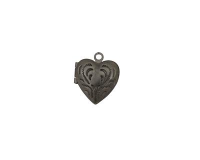 Gunmetal Tiny Pressed Heart Heirloom Locket 13x15mm