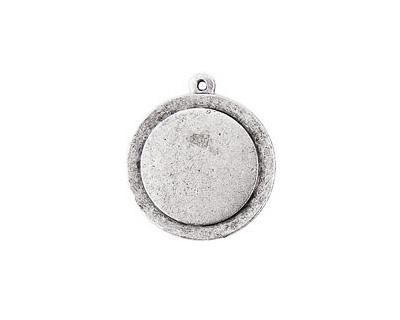 Nunn Design Antique Silver (plated) Raised Tag Small Circle Pendant 25x29mm