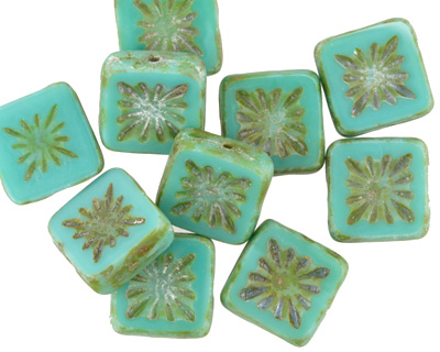 Czech Glass Green Turquoise Picasso Flower Window Square 10mm