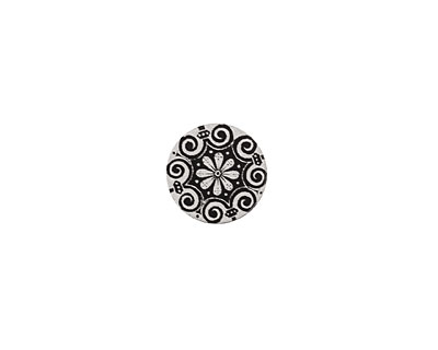 Lillypilly Black Scrolling Daisy Anodized Aluminum Disc 11mm, 22 gauge