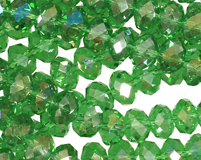 Kelly Green AB Crystal Faceted Rondelle 8mm