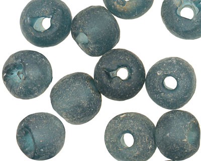 African Recycled Glass (cobalt) Irregular Round 13-14mm