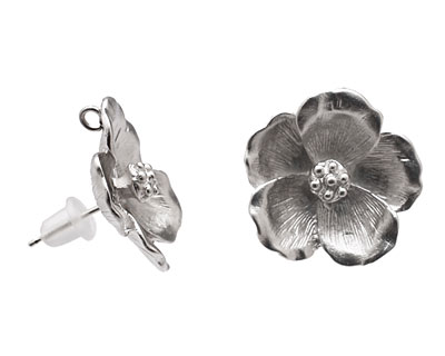 Ezel Findings Rhodium (plated) Pansy Earring 19mm