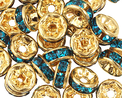 Gold (plated) Teal Rhinestone Rondelle 3x6mm