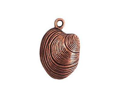 Nunn Design Antique Copper (plated) Clam Charm 15x22mm