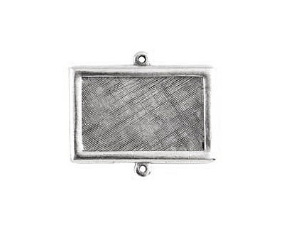 Nunn Design Antique Silver (plated) Horizontal Rectangle Framed Pendant Link 37x25mm