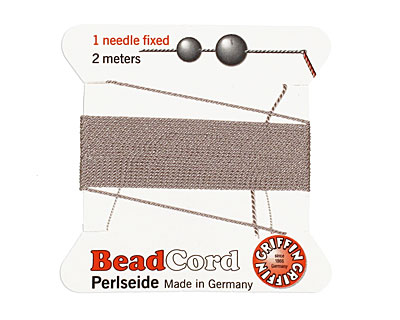 Grey Griffin Silk Beading Cord Size 4, 2 meters