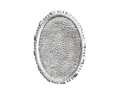 Nunn Design Sterling Silver (plated) Oval Ornate Grande Brooch 32x45mm