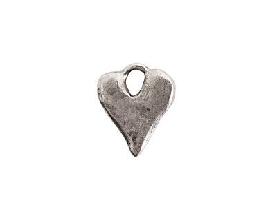 Nunn Design Antique Silver (plated) Rustic Heart Charm 13x16mm
