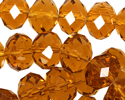Medium Topaz Crystal Faceted Rondelle 14mm