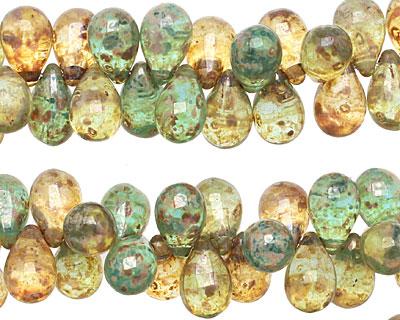 Czech Glass Spring Day Picasso Teardrop 6x9mm