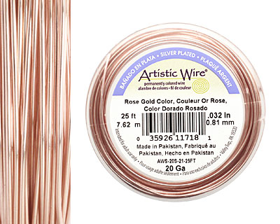 Artistic Wire Silver Plated Rose Gold 20 gauge, 25 feet