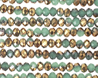 Green Opal & Metallic Antique Gold Crystal Faceted Rondelle 4mm