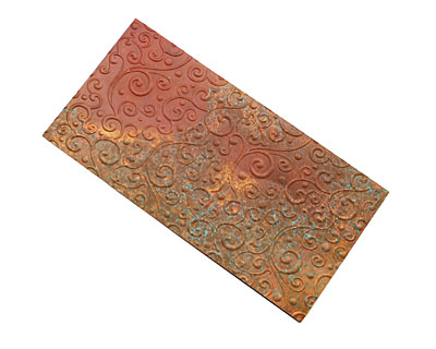 Lillypilly Rojo Scrolling Vine Embossed Patina Copper Sheet 3