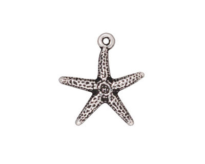 TierraCast Antique Silver (plated) Starfish Charm 17x20mm