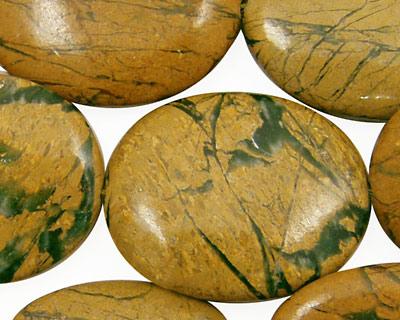 Green Vein Jasper Flat Oval 30x25mm