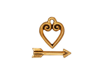TierraCast Antique Gold (plated) Heart & Arrow Toggle Clasp 14x11mm