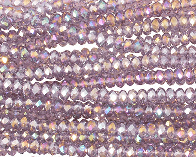 Lilac AB Crystal Faceted Rondelle 3mm