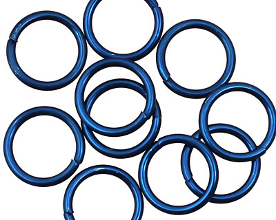 Blue Anodized Aluminum Jump Ring 13mm, 16 gauge (10mm inside diameter)