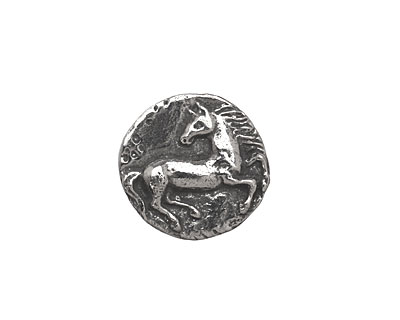 Green Girl Pewter Horse Button 16mm