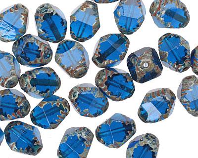 Czech Glass Capri Blue Etched Bicone 10x8mm