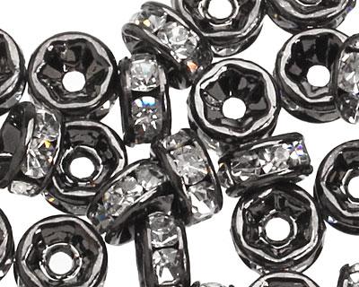 Gunmetal (plated) Crystal Rhinestone Rondelle 4mm