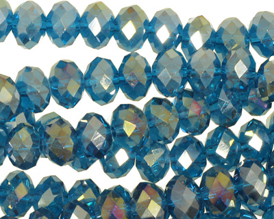 Teal AB Crystal Faceted Rondelle 8mm